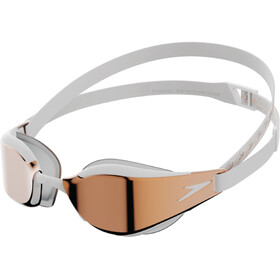 speedo Fastskin Hyper Elite Mirror Goggles, white/oxid grey/rose gold